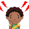 Image of cartoon child with headache